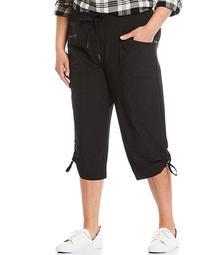 Plus Size Activeease Drawstring Pull-On Capri Pants