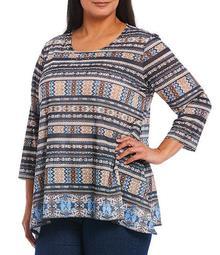 Plus Size Embellished Scoop Neck Striped Border Print 3/4 Sleeve Top