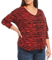 Plus Size Zebra Print Long Sleeve V-Neck Tee