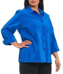 Plus Size Crinkle Woven 3/4 Sleeve Side Button Vent Button Front Shirt