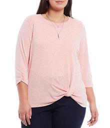 Plus Size 3/4 Sleeve Twist Hem Detail Necklace Top