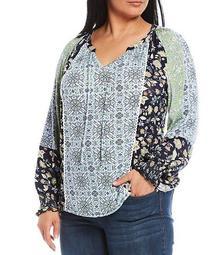 Plus Size Quincy Print Notch Tie-Neck Bubble Sleeve Lace Trim Seaming Detail Top