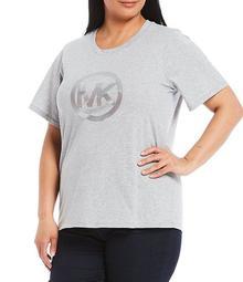 MICHAEL Michael Kors Plus Size Foiled Circle Logo Short Sleeve Cotton Tee