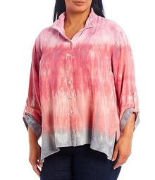 Plus Size Tie Dye Print Crinkled Wire Collar Button Front Hi-Low Top