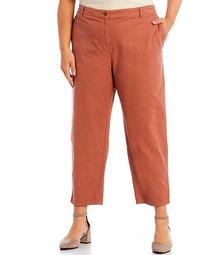 Plus Size Organic Cotton Hemp Stretch High Waist Tapered Ankle Pants