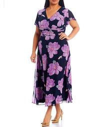 Plus Size Floral Short Sleeve Printed Fit & Flare Chiffon Wrap Dress