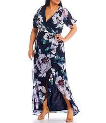Plus Size Floral Chiffon V-Neck Gown