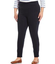 Plus Size Stretch Cotton-Blend Pull-On Straight Pants