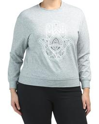 Plus Metallic Yogi Palm Fleece Sweatshirt