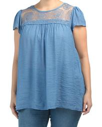Plus Flutter Sleeve Embroidered Yoke Top
