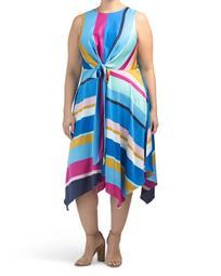 Plus Abstract Striped Hanky Hem Halter Dress