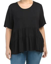 Plus Made In Usa Short Sleeve Babydoll Top