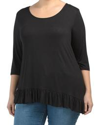 Plus Made In Usa Elbow Sleeve Top With Ruffle Hem