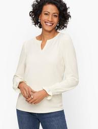 Smocked Cuff Top - Solid