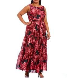 Plus Size Floral Printed Tie Waist Tiered A-line Poly Satin Dress