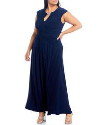 Plus Size Cap Sleeve Embellished Keyhole Neck Ruched Waist Gown