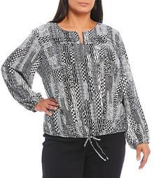 Plus Size Monochrome Mix Patchwork Print Crepe Georgette Drawstring Hem Zipper Front Jacket