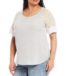 Plus Size Leopard Print Sleeve Stripe Print Crew Neck Knit Top
