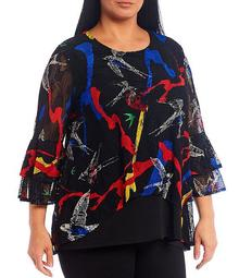 Plus Size Abstract Print Double-Tier Bell Sleeve Hi-Low Tunic