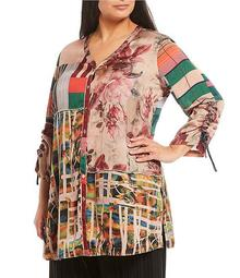 Plus Size Mixed Print Cinched 3/4 Sleeve Tunic Blouse