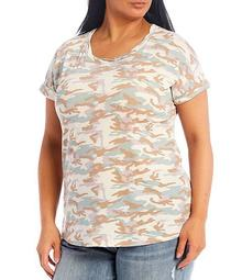 Plus Size Camo Print Twisted Scoop Neck Short Sleeve Knit Top