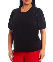 MICHAEL Michael Kors Plus Size Lace-Up Grommet Shoulder Detail Puff Short Sleeve Knit Jersey Top