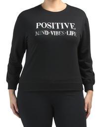 Plus Positive Mind Vibes Life Fleece Sweatshirt