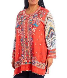 Plus Size Embroidery Front Long Sleeves Scallop Hem Printed Back Tunic