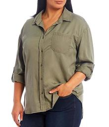 Plus Size Roll Sleeve Button Front Shirt