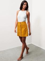 Linen-Cotton Utility Mini Skirt