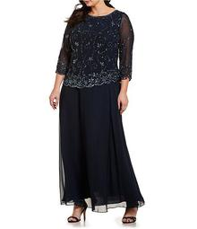 Plus Size Beaded Scalloped Bodice 3/4 Sleeve Chiffon Gown