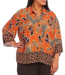 Plus Size Oversized Paisley Print 3/4 Sleeve Button Front Top