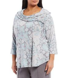 Plus Size Paisley Wonderland Print Dew Drop Embellished Cowl Neck Ruched Tie Detail Top