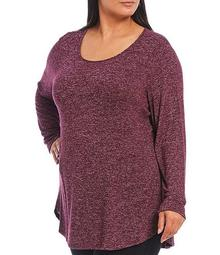 Plus Size Scoop Neck Long Sleeve Hi-Low Tunic