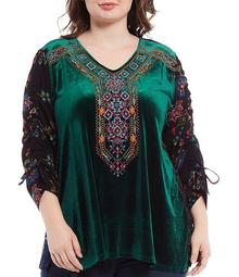 Plus Size Mixed Media V-Neck 3/4 Floral Cinched Sleeve Embroidered Velvet Tunic