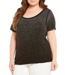 Plus Size Embellished Knit Jersey Scoop Neck Short Sleeve Top