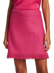 Poppy Textured Wool-Blend Fringe A-Line Skirt