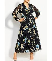 Plus Size Fair Floral Print Faux Wrap Long Sleeve Maxi Dress