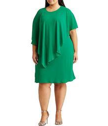Plus Size Georgette Cape Shift Dress