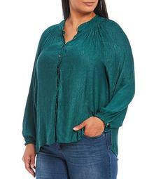 Plus Size Paisley Jacquard Woven Mandarin Collar Raglan Sleeve Button Down Top