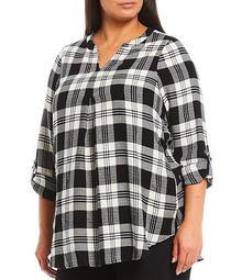 Plus Size Plaid Print Long Roll-Tab Sleeve Hi-Low Tunic