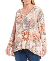 Plus Size Rust Floral Print V-Neck Long Sleeve Pleat Back Hi-Low Hem Top