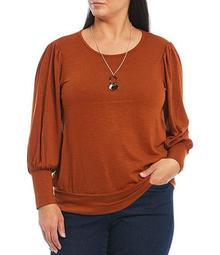 Plus Size Studio Hacci Knit Puff Sleeve Banded Hem Necklace Top