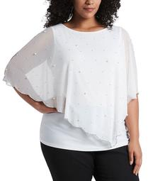 Plus Size Beaded Overlay Top