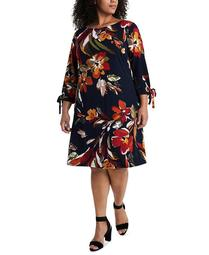 Plus Size Floral-Print Tie-Sleeve Dress
