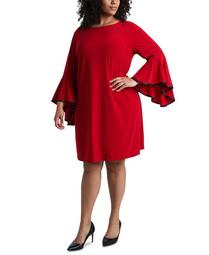 Plus Size Faux-Leather-Piped Bell-Sleeve Shift Dress
