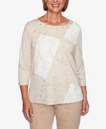 Women's Plus Size Glacier Lake Lace Patchwork Top