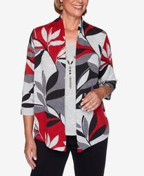 Women's Plus Size Knightsbridge Station Leaf Patchwork Two-For-One Top