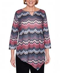 Women's Plus Size Madison Avenue Texture Chevron Top