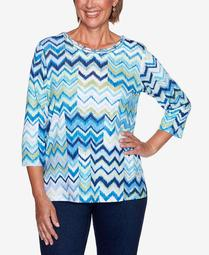 Women's Plus Size Vacation Mode Chevron Patch Knit Top